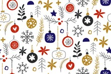 Winter Seamless Repeat Patterns With Christmas Baubles. Scandinavian Style Traditional Motifs. Vector Illustration. Perfect For Cards, Textile, Wallpaper, Background