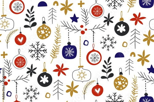 Winter seamless repeat patterns with Christmas baubles Tableau sur Toile