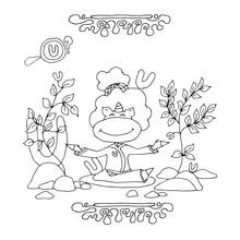 Find Letter U. Funny Cartoon U...