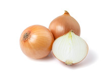 Natural Fresh Yellow Onion Isolated On White Background With Clipping Path