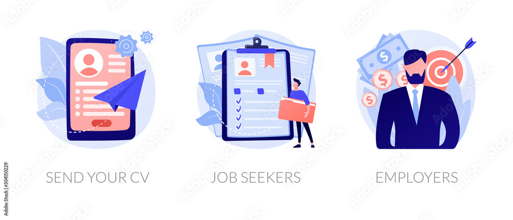 Fototapeta Job searching. Employment service, recruitment agency. Resume writing, finding work. Vacant position. Send your CV, job seekers, employers metaphors. Vector isolated concept metaphor illustrations