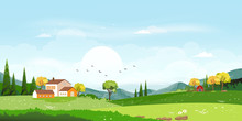 Vector Illustration Of Beautiful Spring Field Landscape With A Dawn, Green Hills,farmhouse And Barn With Blue Sky And Clouds,Flat Cartoon Style  Background For Spring And Summer Banner