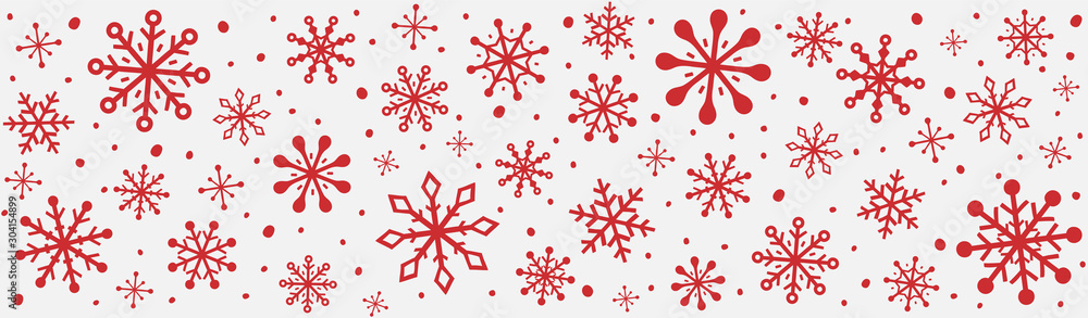 Fototapeta Panoramic header with hand drawn snowflakes. Christmas ornament. Vector