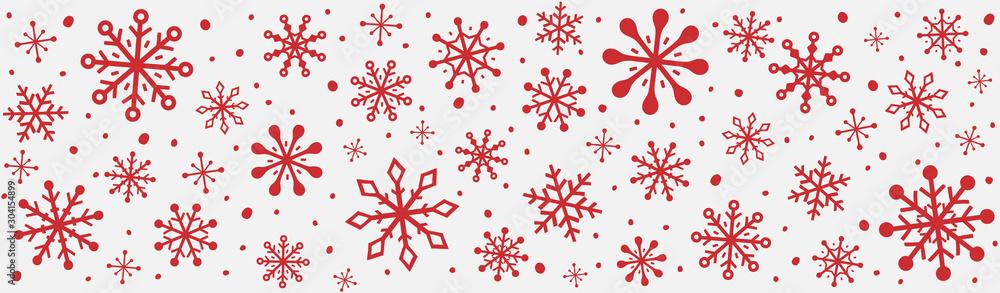 Fototapeta Panoramic header with hand drawn snowflakes. Christmas ornament. Vector - obraz na płótnie