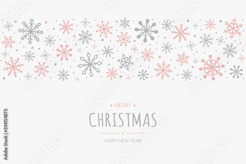 Obraz Merry Christmas and Happy New Year. Christmas background with hand drawn snowflakes and wishes. Vector - fototapety do salonu