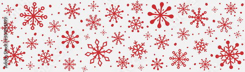 Panoramic header with hand drawn snowflakes. Christmas ornament. Vector