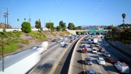 Obraz Los Angeles, California - Traffic on Interstate 5, I-5 Highway view from N Broadway – Long Exposure - fototapety do salonu