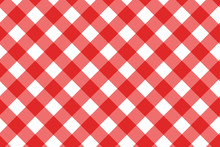 Red And White Background. Plaid Pattern