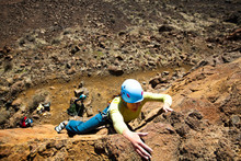 A Woman,  Leads A 5.10c Climb At Vantage In Central Washington.