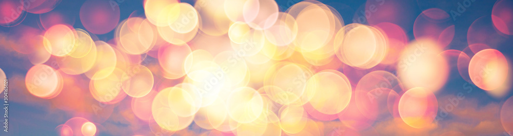 Fototapety, obrazy: Abstract banner background image of sunset or sunrise sky with warm colors lens flare bokeh
