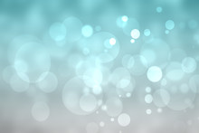 Abstract Festive Turquoise Silver Shining Glitter Background Texture With Blurred Bokeh Circles And White Lights. Space For Design. Beautiful Backdrop. Card Concept.