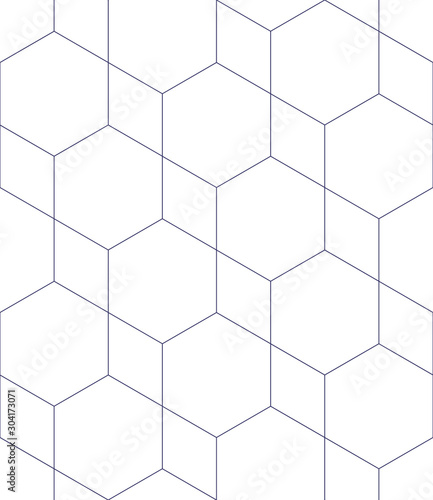 Fototapeten Künstlich Vector geometric seamless pattern. Modern geometric background. Mesh with hexagonal cells.
