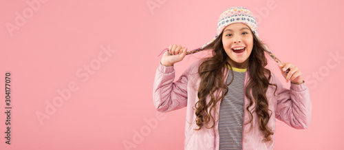 Adorable small child wear knitted accessory Fototapet