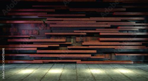 Obraz Empty floor background.blank modern architecture.Dark room and cement floor.Tile wall and spotlights .3d illustration - fototapety do salonu