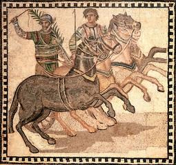 Fototapeta na wymiar mosaic showing a quadriga