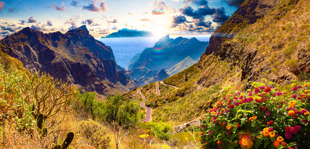 Fototapety, obrazy: Masca valley.Canary island.Tenerife.Spain.Scenic mountain landscape.Cactus,vegetation and sunset panorama in Tenerife