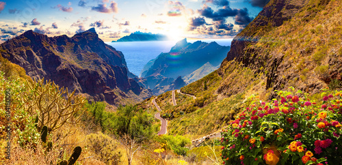 Masca valley.Canary island.Tenerife.Spain.Scenic mountain landscape.Cactus,vegetation and sunset panorama in Tenerife - 304180090