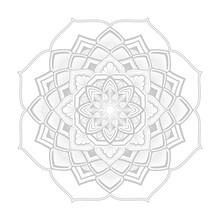 Grey Circular Mandala Vector Ornament On White Background