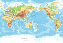 World Map - Pacific View - Phy...