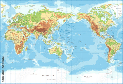 World Map - Pacific View - Physical Topographic - Vector Detailed Illustration