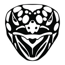 Stylized Face Of A Turtle Or Tortoise. Black And White Silhouette.