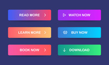 Read More, Learn More, Book Now, Watch Now, Buy Now, Download. Set Of Modern Multicolored Buttons With Gradient For Web Sites And Social Pages. Vector. EPS 10