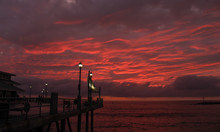 Beautiful Red Clouds At Sunset At The Redondo Beach Pier, Los Angeles County, California