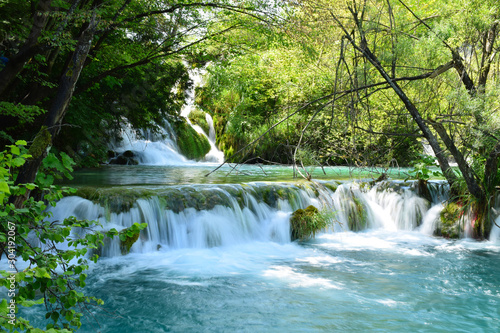 Fototapety, obrazy: Slightly long exposure of a mini wide waterfall in Plitvice Lakes National Park, Croatia