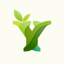 Swirling Letter Y Logo With Green Leaves.