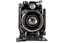 A Drawing Of An Old Black Camera On White Background, Isolated.