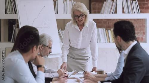 Pinturas sobre lienzo  Old female boss talking at group meeting pointing at paperwork