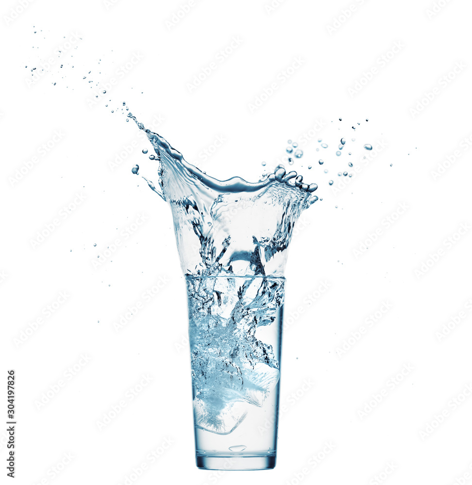 Fototapeta one glass of water with splash from falling ice cube, white background, isolated object