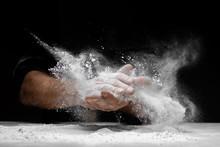 Chef Clap White Flour Dust Man Hand On Black Background