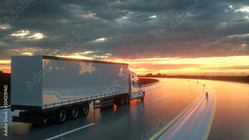 Canvastavla Semi trailer on asphalt road highway at sunset - transportation background