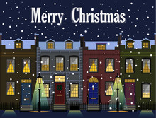 Christmas Greetings From A City Street In Snow And Lamp Lights.