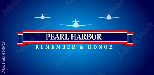 Fotografie, Obraz Pearl Harbor Remembrance, blue background a plane