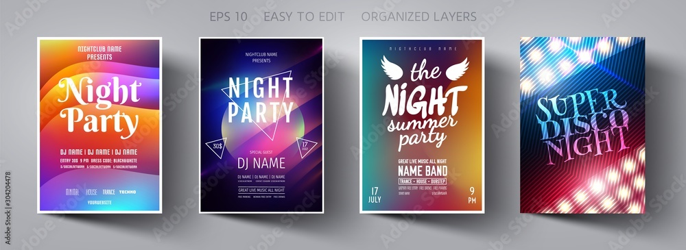 Fototapeta Poster design. Flyer template. Abstract Background. Template design. Party background.  Poster template. Vector Background. Layout Template.  Magazine cover. Vector collection