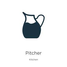 Pitcher Icon Vector. Trendy Fl...