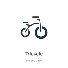 Tricycle Icon Vector. Trendy Flat Tricycle Icon From Kid And Baby Collection Isolated On White Background. Vector Illustration Can Be Used For Web And Mobile Graphic Design, Logo, Eps10