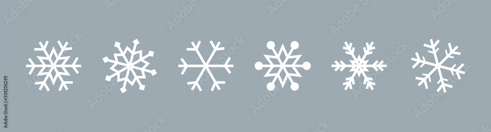 Fototapeta Snowflake set on isolated background. Isolated snowflake collection. Frost background. Christmas icon. Vector illustration