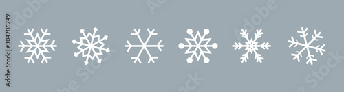 Obraz Snowflake set on isolated background. Isolated snowflake collection. Frost background. Christmas icon. Vector illustration - fototapety do salonu