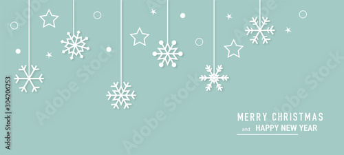 Fototapeta Christmas card with snowflake border vector. Xmas snow flake pattern. Festive christmas card. Isolated illustration white background. obraz