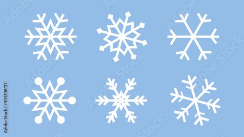 Obraz Snowflake set on isolated background. Isolated snowflake collection. Frost background. Christmas icon. Vector illustration - fototapety do salonu