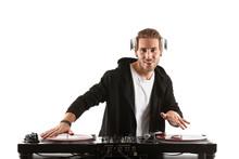 Male Dj Playing Music On White...