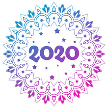 Christmas And New Year Decoration Mandala Ornament With Number 2020.