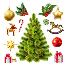 Vector Realistic Christmas Tree With Toys Symbols