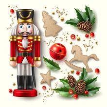 Vector Christmas Symbols Realistic Set, Nutcracker