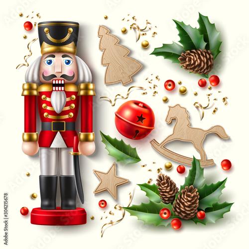 Fotografía  Vector christmas symbols realistic set, nutcracker