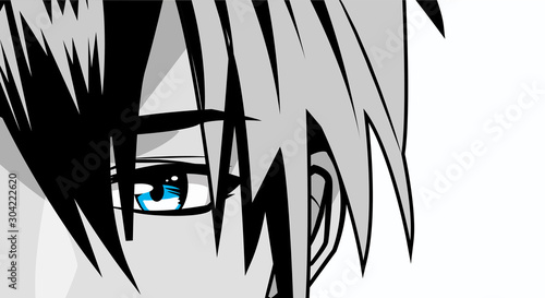 face young man monochrome anime style character - 304222620