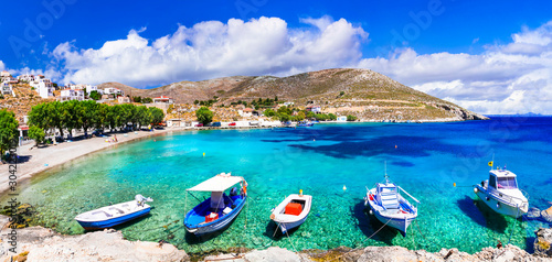 Amazing Greece - Kalymnos island, charming Vlichadia village and beach with crystal sea.